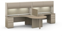 Picture of 2 Person Workstation, Multi User L Shape Office Desk Workstation with Overheads and Filing Pedestal