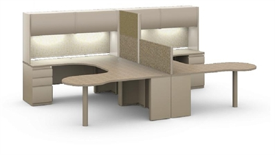 Picture of 2 Person Workstation, L Shape Two Person Office Workstation, Peninsula Desk