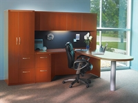 Picture of Mayline Aberdeen Transitional L Shape Office Desk Workstation with Wardrobe Storage