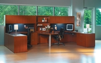 Picture of Mayline Aberdeen 2 Person Workstation, Peninsula Office Desk Workstation with Overhead Storage