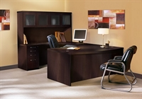 Picture of Mayline Aberdeen Laminate U Shape Office Desk Workstation with Glass Door Hutch