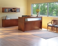 Picture of Mayline Aberdeen Laminate L Shape Reception Desk with Lateral File and Overhead Storage