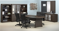 Picture of Mayline Brighton Laminate Conference Table with Storage Bookcase, Storage Cabinet, and Conference Presentation Board