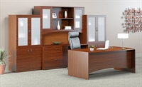 Picture of Mayline Brighton Laminate Executive Office Desk Workstation with Storage Credenza