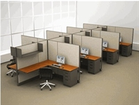 Picture of Cluster of 8, 6' x 6' L Shape Electrified Office Cubicle Workstation with Overhead Shelf