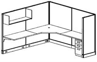 Picture of 8' x 8' Electrified L Shape Office Cubicle Workstation with Overhead Shelves with Task Lights