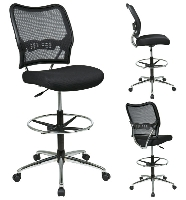 Picture of Office Star 13-37P500D AirGrid Mesh Armless Drafting Chair with Adjustable Footring