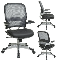 Picture of Office Star 15-46C61PR3 Mid Back AirGrid Mesh Chair, Leather Seat, Platinum Arms and Base