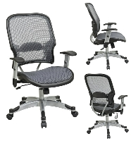Picture of Office Star 15-66C615R Mid Back AirGrid Mesh Office Chair, Platinum Arms and Base