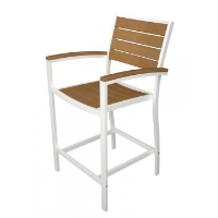 Picture of Polywood Euro A201, Recycled Plastic Outdoor Cafe Dining Counter Arm Chair