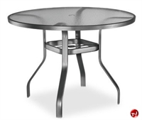"Picture of Homecrest 1746501, Outdoor Aluminum Glass 48"" Round Balcony Table with Hole"