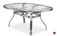 "Picture of Homecrest 1767501, Outdoor Aluminum Glass 63"" Boat Dining Table with Hole"