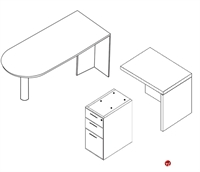 Picture of Laminate L Shape P Top Office Desk Workstation