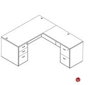 Picture of Laminate L Shape Office Desk Workstation, 2 Filing Pedestals