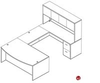 Picture of Laminate U Shape Bowfront Office Desk Workstation, 2 Filing Pedestals