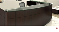Picture of Contemporary Laminate L Shape Reception Desk Workstation, Glass Counter