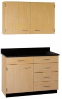 "Picture of 42""W Cabinetry Suite SA016, Two Door Wall Unit, Base Unit with Countertop"