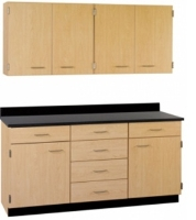"Picture of 60""W Cabinetry Suite SA022, Four Door Wall Unit, Base Unit with Countertop"