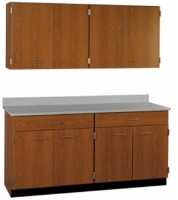 "Picture of 60""W Cabinetry Suite SA026, Four Door Wall Unit, Base Unit with Countertop"