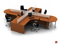 Picture of Contemporary Veneer Cluster of 4, Laminate Quad Cubicle Workstation