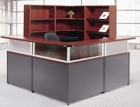 Picture of Laminate L Shape Reception Desk Office Workstation, Storage Bookcase