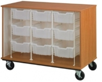 "Picture of 36""H Mobile Storage Cabinet, 9 Bins with Doors"