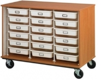"""Picture of 36""""H Closed Mobile Storage Cabinet, 18 Trays Wire Rack System"""