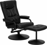 Picture of Black Leather Swivel Recliner with Ottoman