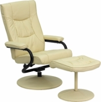 Picture of Cream Leather Swivel Recliner with Ottoman