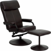Picture of Espresso Leather Swivel Recliner with Ottoman, 9856823