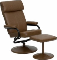 Picture of Camel Leather Swivel Recliner with Ottoman, 9856826