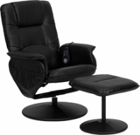 Picture of Black Leather Swivel Massaging Recliner with Ottoman, 9856828