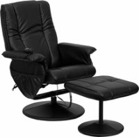 Picture of Black Leather Swivel Massaging Recliner with Ottoman, 9856829