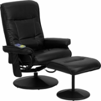 Picture of Black Leather Swivel Massaging Recliner with Ottoman, 9856830