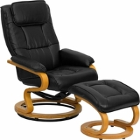 Picture of Black Leather Swivel Recliner with Ottoman, Headrest, 9856832