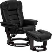 Picture of Black Leather Swivel Glider Recliner with Ottoman, 9856836