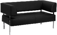 Picture of Black Leather Contemporary Reception Lounge Two Seat Loveseat Sofa, 9856847