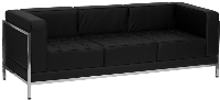 Picture of Black Leather Contemporary Reception Lounge Three Seat Sofa, 9856851