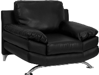 Picture of Black Leather Reception Plush Club Chair, 9856852