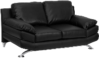 Picture of Black Leather Reception Plush Two Seat Loveseat Sofa, 9856853