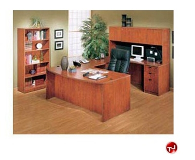 """Picture of 72"""" U Shape Laminate Bowfront Office Desk Workstation, with Hutch and Bookcase"""