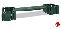 "Picture of Ultra Play Outdoor Recycled Plastic 72"" Bench with 2 Planters"