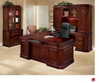 Picture of 13134 Traditional Veneer U Shape Office Desk Workstation, Hutch, Lateral File Bookcase