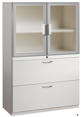 """Picture of 2 Drawer Steel, Trace Combo Lateral File with Aluminum Doors, 30""""W"""