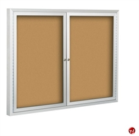 Picture of 2 Hinged Door Bulletin Board Cabinet, 4' x 4'