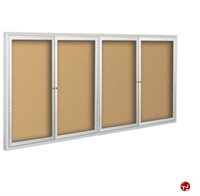 Picture of 4 Hinged Door Bulletin Board Cabinet, 4' x 12'