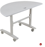 "Picture of 24"" x 48"" Half Round Mobile Folding Training Table"