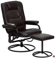 Picture of Brato Brown Leather Massage Recliner with Ottoman