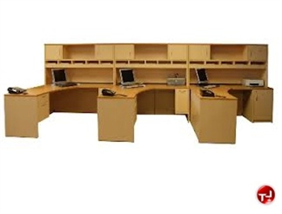 Picture of Peblo 3 Person L Shaped Office Desk Worksation, Overhead Storage