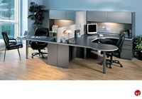 Picture of 2 Person U Shape P-Top Office Desk Workstation,Overhead Storage